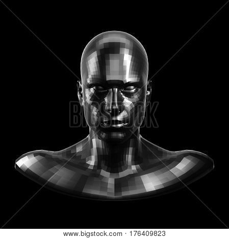 3D rendering. Faceted black robot face with black eyes looking front on camera. Isolated on black background