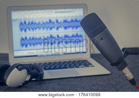 For home internet radio: home podcast recording studio