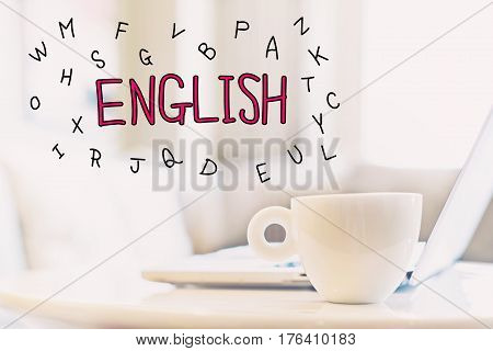 English Concept With A Cup Of Coffee