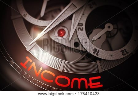 Income on Face of Vintage Wristwatch, Chronograph Close Up. Income - Luxury Wrist Watch with Visible Mechanism and Inscription on the Face. Time Concept with Lens Flare. 3D Rendering.