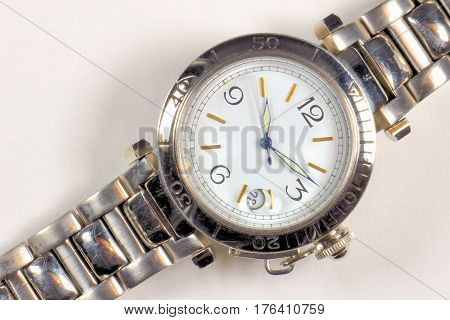 closeup automatic men watch with stainless steel wrist