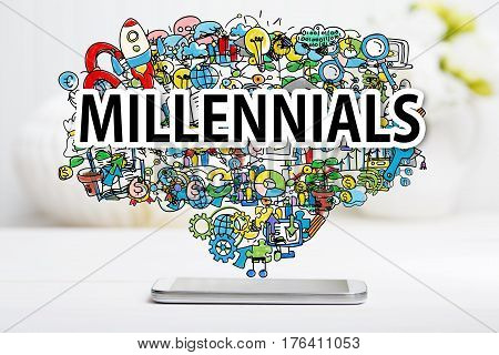 Millennials concept with smartphone on white table