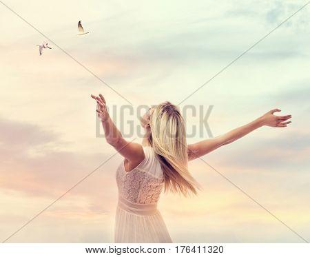 Beautiful Woman Enjoying Her Freedom