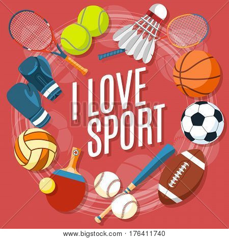 Set of colorful sport balls and gaming items at a red background. Balls for rugby, volleyball, basketball, football, baseball, tennis and badminton shuttlecock. Healthy lifestyle tools, elements. Vector Illustration