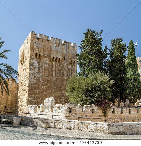 The Jerusalem Citadel, the Tower of David Museum near Jaffa Gate in Old City of Jerusalem, Israel