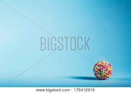 Rubber Band Ball On Blue Background