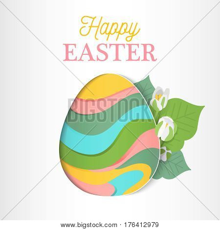 Abstract geometric ornamented easter egg with spring flower. Vector stock illustration