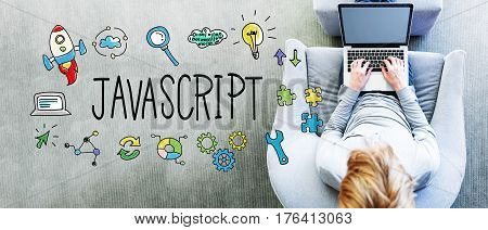 Java Script Text With Man Using A Laptop