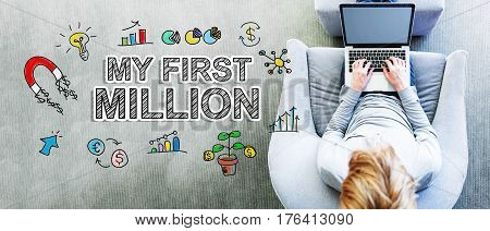 My First Million Text With Man Using A Laptop