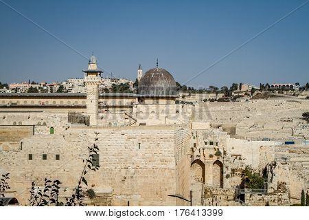 JERUSALEM, ISRAEL - OCTOBER 3: View of the Al-Aqsa Mosque on the Temple Mount in Old City of Jerusalem, Israel on October 3, 2016