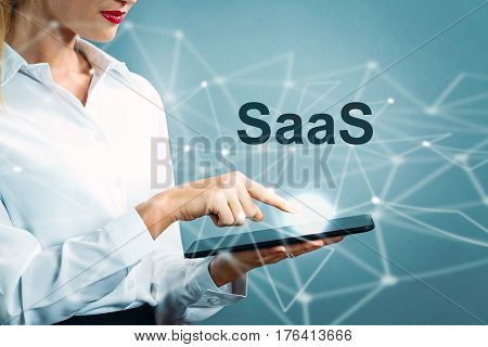 Saas Text With Business Woman