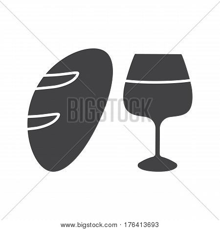 Wine and bread glyph icon. Silhouette symbol. Jesus Christ flesh and blood. Negative space. Vector isolated illustration