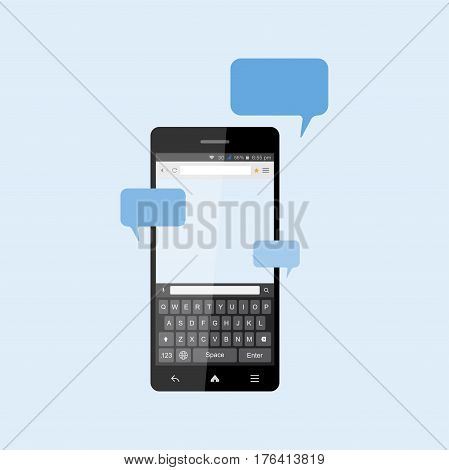 Social concept, a new message and a chat on the Internet. Notifications about a new message in the smartphone with a keyboard. Flat vector illustration EPS 10