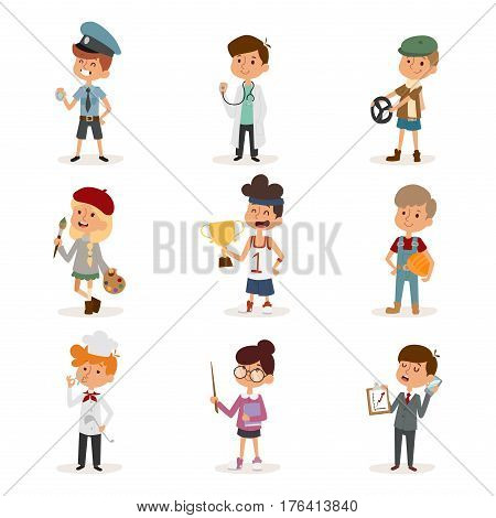 cartoon professions kids. Painter, sportsman, cook chef, builder, policeman, doctor, artist, driver, businessman Funny cartoon boys kids Professions kids children vector set illustration