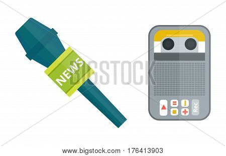 microphones types vector icons. Journalist microphone, interview music studio Web broadcasting, vocal, tv show isolated white background. Tape recorder or dictaphone