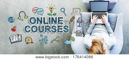 Online Courses Text With Man Using A Laptop
