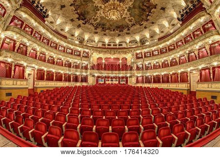 Interior - empty auditorium of the great theater Opera Prague Czech republic