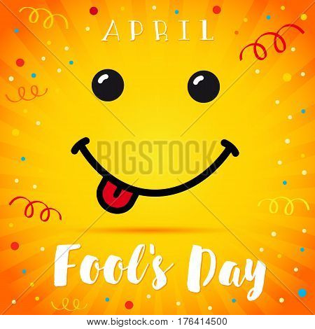 April Fools Day smile card. April Fools Day text and vector illustration of a smiling face. 1 April Fool's Day