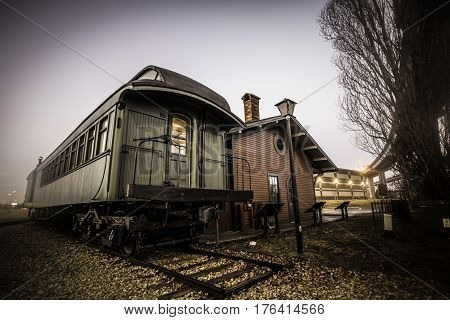 Port Huron, Michigan, USA - February 23, 2017: Vintage train car and station on display at the Thomas Edison Depot Museum in Port Huron, Michigan.