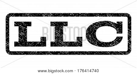 Llc watermark stamp. Text caption inside rounded rectangle with grunge design style. Rubber seal stamp with dust texture. Vector black ink imprint on a white background.