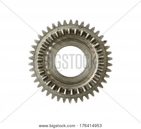 Part of clockwork mechanism isolated on white background - gears