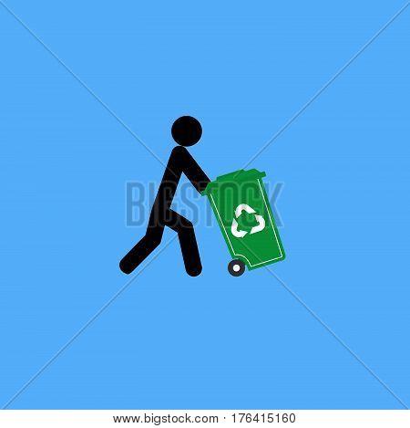 Trash Man For Cleaner, Blue Background, Vector, Illustration