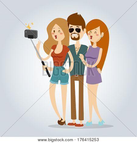 Selfie young couple friends portreit vector illustration. Selfie man, woman girls, friends together shoot photo. Vector selfie. Take selfie concept modern friends