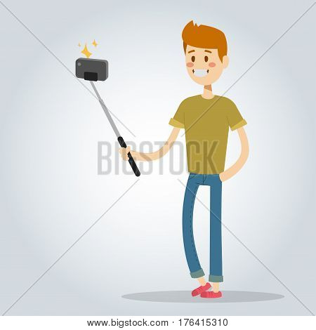 Selfie photo man or boy vector portrait illustration on white background. People fun vector illustration. Take selfie man, boy, teenager, adult boy. shoot photo people. Young happy life concept