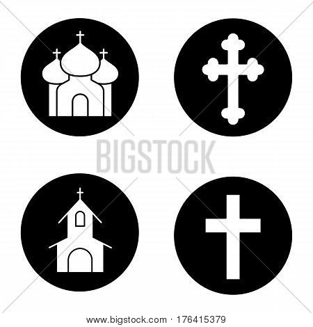 Christianity religion icons set. Catholic cathedral, orthodox church, temple, Christian crucifix, cross. Vector white silhouettes illustrations in black circles