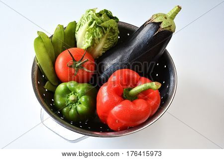 Fresh vegetable in a Stainless Steel Colander