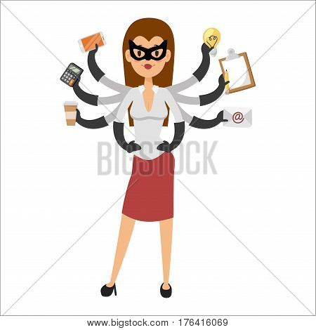 Superhero business man vector. Super people in business illustration. Super hero business situations, super hero office life. Personal assistant, business success people. Team leader, boss, hero