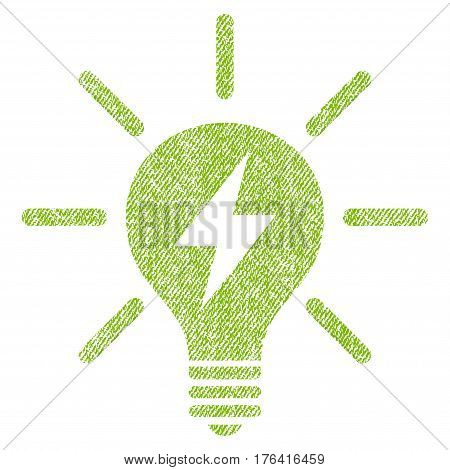 Electric Light Bulb vector textured icon for overlay watermark stamps. Fabric light green vectorized texture. Symbol with scratched design. Rubber seal stamp with fiber textile structure.