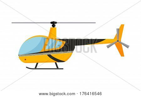 Yellow taxi helicopter vector modern design illustration on commercial transport. Taxi yellow air transport delivery flat style vector illustration. Flying helicopter isolated on white background