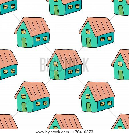 Sweet doodle pattern with hand drawn houses. Cute vector colorful doodle pattern. Seamless cheerful doodle pattern for fabric, wallpapers, wrapping paper, cards and web backgrounds.