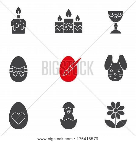 Easter glyph icons set. April 16 silhouette symbols. Candles, Easter bunny and eggs, camomile, goblet, newborn chicken. Vector isolated illustration