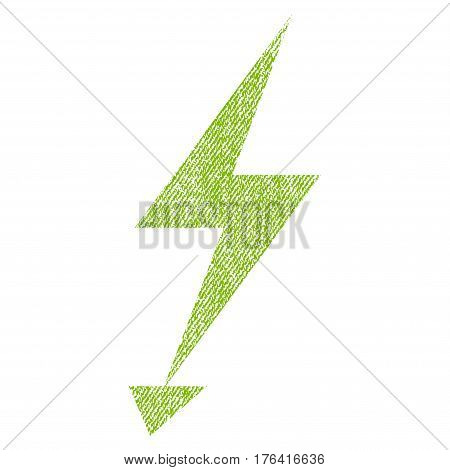 Electric Strike vector textured icon for overlay watermark stamps. Fabric light green vectorized texture. Symbol with dust design. Rubber seal stamp with fiber textile structure.