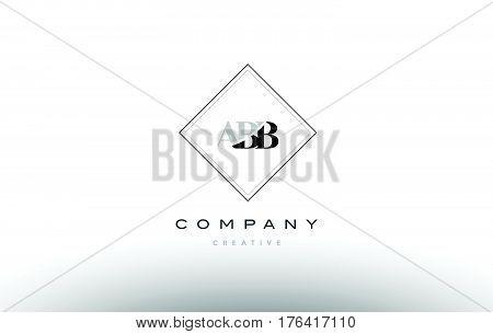 Abb A B B Retro Vintage Rhombus Simple Black White Alphabet Letter Logo