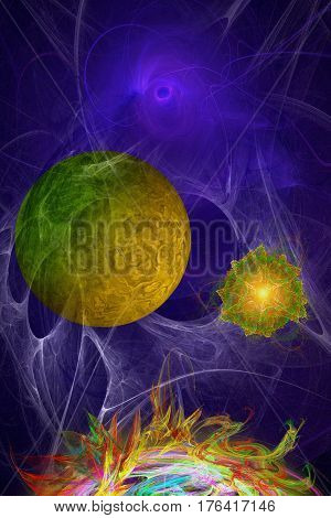 illustration with scene abstract cosmic fantasy in stiletto fractal graphs