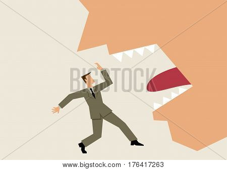 Simple style graphic of a businessman threatened by scary giant mouth
