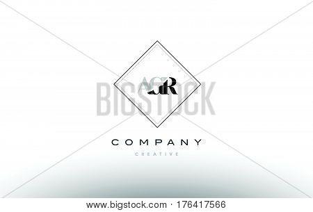 Agr A G R Retro Vintage Rhombus Simple Black White Alphabet Letter Logo