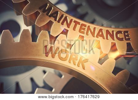 Maintenance Work on Mechanism of Golden Cog Gears with Lens Flare. Golden Gears with Maintenance Work Concept. 3D Rendering.