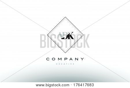 Adk A D K Retro Vintage Rhombus Simple Black White Alphabet Letter Logo