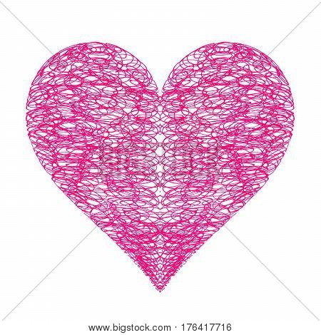 Abstract bright heart on white background hand drawn