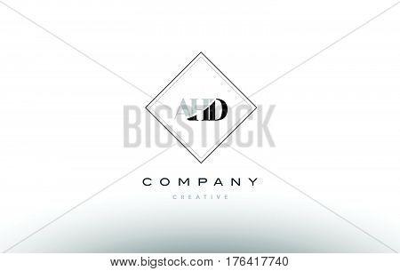 Ahd A H D Retro Vintage Rhombus Simple Black White Alphabet Letter Logo
