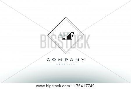 Ahf A H F Retro Vintage Rhombus Simple Black White Alphabet Letter Logo