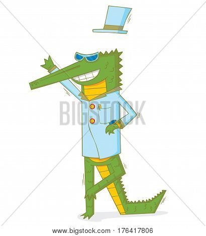 illustration of the happy crocodile with hat