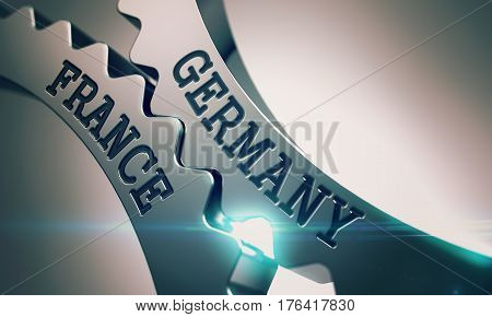 Germany France on the Mechanism of Metallic Gears with Lens Effect - Communication Concept. Text Germany France on the Metal Gears - Business Concept. 3D Render.