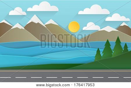 spring landscape of forests, mountains, road and lake. paper art style.