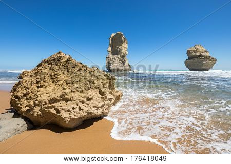Gog and Magog are two giant limestone stacks offshore from the Gibson Steps on the Great Ocean Road outside Port Campbell in Victoria, Australia.