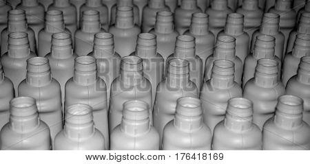 White plastic bottles. Photo of plastic bottles